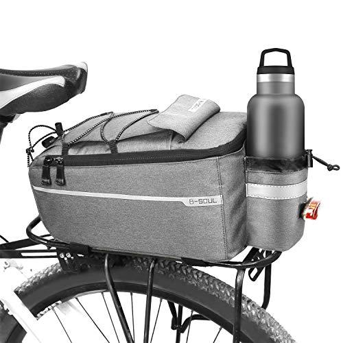 Augot Borsa da Bicicletta, 10L Borsa Posteriore Bici Borsa Portapacchi Impermeabile Isolata Pacchetto Bagagli per Posteriore per Biciclette Riflettenti con Tracolla per MTB Bici da Strada, Grigio