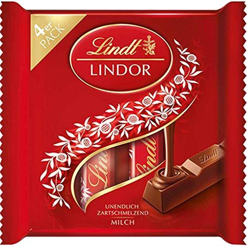 Lindt Lindor Vollmilch Sticks, Vollmilch-Schokolade, Schokoladenriegel im Multipack, 3+1 Promotion, 100 g