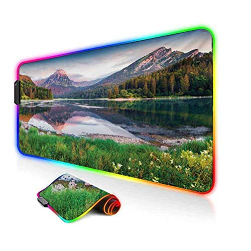 RGB Gaming Mouse Pad,Swiss Lake Obersee Near Nafels Village Switzerland Europe Scenic Summer Sunrise Led Mousepad with Non-Slip Rubber Base,35.6'x15.7',for MacBook,PC,Laptop,Desk Multicolor