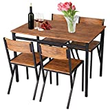 USSerenaY 5-Piece Wooden Metal Dining Table Set Industrial Style Wooden Kitchen Table and Chairs Dining Table Furniture Set for Kitchen, Dining Room, Living Room