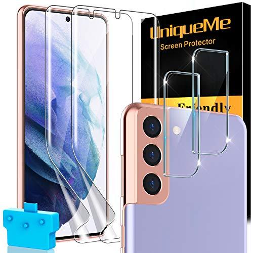 UniqueMe [2 Pezzi] Pellicola Fotocamera Compatibile con Samsung Galaxy S21 Plus / S21+ 6.7 Pollici Vetro e [2 Pezzi] Flessibile TPU Pellicola Protettiva [Bubble-Free]