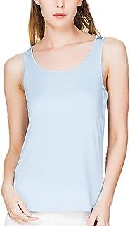 E-girl BS7029 - Camiseta de tirantes de seda para mujer, cuello redondo y delgado, estilo casual