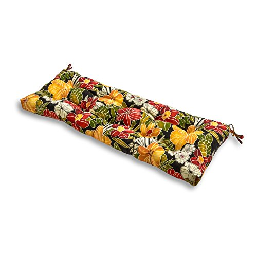 Greendale Home Fashions AZ5812-ALOHA-BLACK Aloha 51-inch Outdoor Bench Cushion