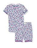 Hatley Girls' Organic Cotton Short Sleeve Pyjama Set, Cheetah Hearts, 5 Years