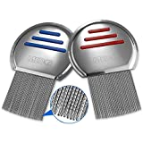 Lice Comb - (Pack of 2) Stainless Steel Professional Lice Combs and Head Lice Treatment to Effectively Get Rid of Hair Lice and Nits, Best Results for Infection and Re-Infection in Kids & Adults