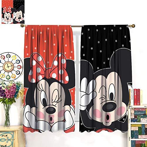 FOCLKEDS Cortina de ventana para bebé Min-nie Mou-se Mic-Key Min-nie Mouse lindo niños niñas decoración de habitación 42 x 63 pulgadas (107 x 160 cm)