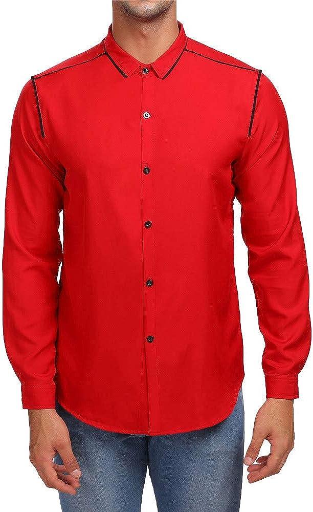 MODOQO Men's Casual Button Down Shirts Long Sleeve Solid Regular Fit Shirt