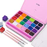 HIMI Gouache Paint Set, 24 Colors x 30ml Unique Jelly Cup Design with 3 Paint Brushes in a Carrying Case Perfect for Artists, Students, Gouache Opaque Watercolor Painting (Pink)