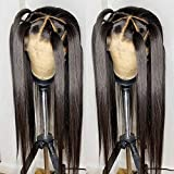 Andrai Hair 13×6 Inch Deep Part Lace Front Wigs Black Hair Synthetic Wigs Long Straight Heat Resistant Hair Pre Plucked Wig with Baby Hair Bleached Knots for Women 24 Inches Black Hair