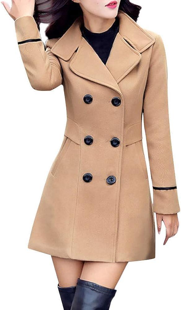 Kaitobe Women Thicken Warm Winter Coat Cardigan Parka Overcoat Double Breasted Long Peacoat Trench Jacket Coat Outwear