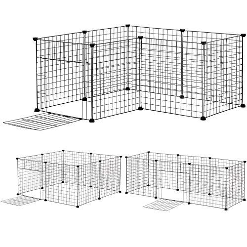 8 pcs (50 x 50 cm/pc) DIY Welpenauslauf aus Metall mit Tür, erweiterbar, Freigehege Welpenzaun Laufstall Tierlaufstall für Kleintiere Welpen Haustier Hase Kaninchen Meerschweinchen Outdoor Indoor