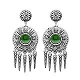 Boucles d'oreilles rondes et pampilles (jade verte/argenté)