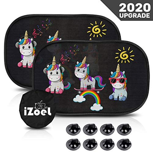 iZoeL Car Sun Shade for Baby Kids 2 Pack Static Cling Side Window Car 80GSM Rear Sunshades Universal with 8 Suction Cups and Storage Bag - Sun Glare and UV Rays Protection (Unicorn)