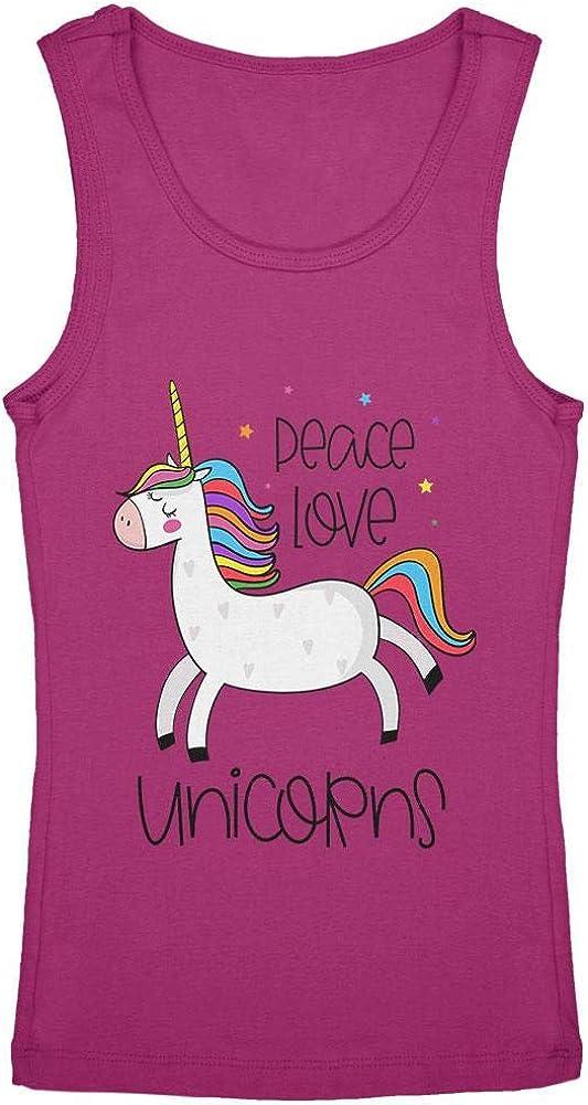Peace Love Unicorns Youth Girls Tank Top