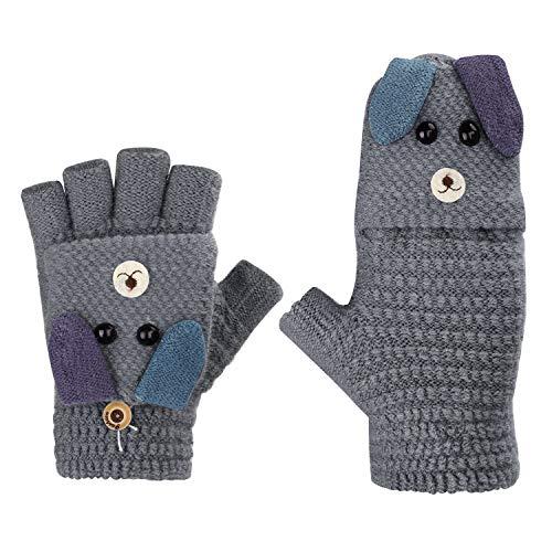 Fäustlinge mit Knopf Klappe Fingerlose Handschuhe für Kinder Winter Warm Strickhandschuhe Plüschfutter Winterhandschuhe in Kaninchen Optik