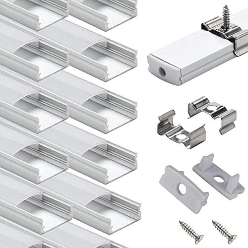 LED Schiene Profil Aluminum - 10 × 1M StarlandLed 10-Pack LED-Aluminium Profil U-Form mit Abdeckung, Endkappen und Montageclips für LED-Streifen-Lichter …