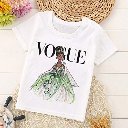 DAJUZI Vogue Recién Llegado Princesa Imprimir Camiseta para niños Divertido Kawaii Cartoon Girls Top Harajuku Blanco Cuello Redondo Manga Corta Niños Camiseta 4T 2412