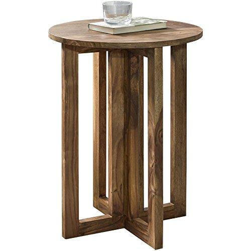 WOHNLING Bijzettafel massief hout Sheesham Design woonkamertafel 45 x 45 cm rond salontafel natuurhout donkerbruin nachtkastje landhuisstijl nachtkastje echt hout aanzettafel telefoontafel 60 cm hoog