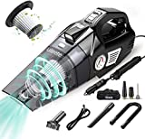 uleete Car Vacuum, 4 in 1 Portable Car Vacuum Cleaner with Air Compressor Pump, DC 12V Tire Inflator for Car, High Power Handheld Car Vacuum with LED Light, Wet/Dry Vacuum Cleaner for Car, 14.8FT Cord