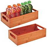mDesign Set da 2 contenitori alimenti con pratici manici – Portaoggetti cucina per accessori e alimenti – Contenitore in bambù per spezie, utensili o bottiglie – ciliegio