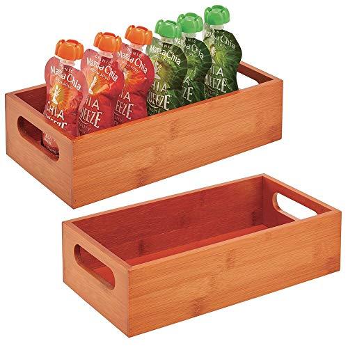 mDesign Juego de 2 cajas organizadoras con asas – Práctico cajón de madera para almacenar alimentos, especias, nueces o botellas – Organizador de cocina abierto en bambú – color cerezo