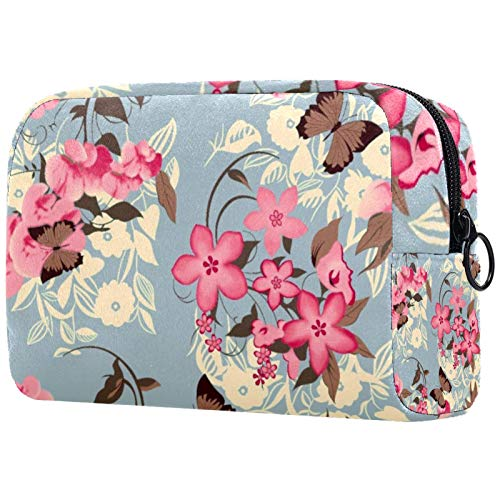 Kosmetische Reisetasche, Schminktasche, Schminktasche, Geburtstagsgeschenk, Jubiläumsgeschenk - Butterfly Flower Vine Vintage
