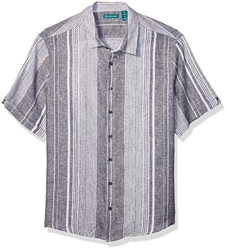 Cubavera Men's Big Big & Tall Yarn Dye Textured Stripe Shirt, Jet Black, 4X Large Tall