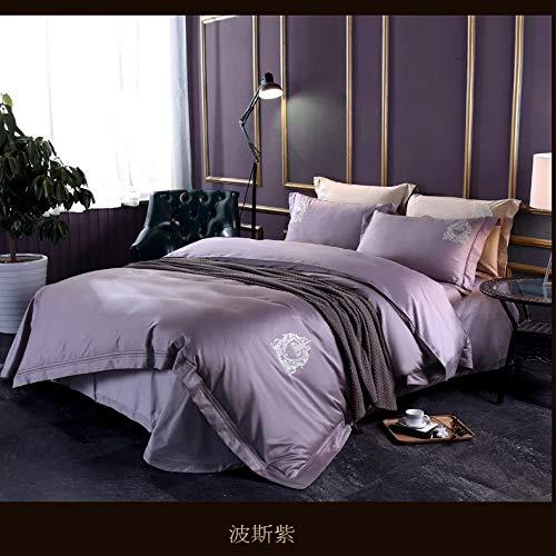 yaonuli Lit en Coton Minimaliste élégant brodé à Quatre pièces, Quatre pièces, Violet Persan 220 * 240