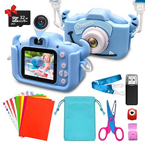 ShengRuHai Cámara de Fotos Digital para Niños,Cámara Digitale Selfie para Niños con Tarjeta de Memoria Micro SD 32GB,HD 1200 MP/1080P Doble Objetivo Regalos de Cumpleaños 3 a 12años Niños y niñas Azul