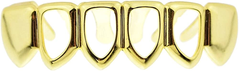 14k Gold Plated Four Open Face Tooth Grillz Lower Bottom Teeth Hip Hop Mouth Grills