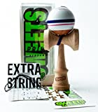 Sweets Kendamas Prime Sport Stripe Kendama - Sticky Paint, Stripe Design, Extra String Accessory Gift Bundle (Blitz)