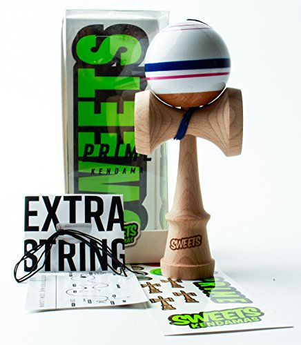 Sweets Kendamas Prime Sport Stripe Kendama - Sticky Paint, Stripe Design, Extra String Accessory Gift Bundle