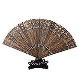 Abanico de madera de agar Kalimantan natural Estilo chino Aceite negro Material antiguo Madera de agar Agar ventilador de flecos clásico