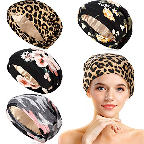 4 Pieces Satin Lined Sleep Cap Double Layer Silk Sleeping Bonnet Slouchy Beanie Slap Hat for Women(Black Pink Flower, Pink Camouflage, Leopard)