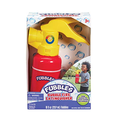 Little Kids Fubbles My First Bubble Fire Extinguisher with Lights and Real Sire Sounds, Includes Bubble Solution, red (472)