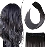Ugeat Balayage Hair Extensions Human Hair Halo Extensions 22inch Adjustable Wire Halo Hair Extensions Balayage Color Off Black to Silver Flip on Remy Hair Extensions with 4 Clips 100Gram