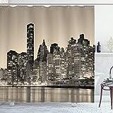 ABAKUHAUS New York Duschvorhang, Manhattan City Nacht, mit 12 Ringe Set Wasserdicht Stielvoll Modern Farbfest & Schimmel Resistent, 175x240 cm, Sepia Schwarz