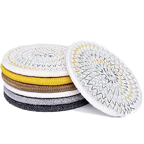 Absorbent Drink Coasters, Handmade Braided Drink Coasters, Set of 6 (4.3 Inch, Round, 8mm Thick), Super Absorbent Heat-Resistant Coasters for Drinks, Great Housewarming Gift