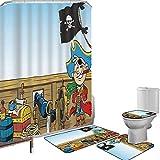 Juego de cortinas baño Accesorios baño alfombras Pirata Alfombrilla baño Alfombra contorno Cubierta del inodoro Divertido Pirate Boy Kid en la cubierta del barco Viaje Aventura peligrosa en aguas desc