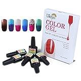 Ukiyo - 6 frascos de esmalte semipermanente soak-off de 8ml para lámpara UV o LED, variación de temperatura de color 9
