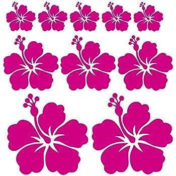 Beschriftungsspezi Autoaufkleber Oder Wandtattoo Hibiskus Blumen Set Mit 10 Blumen Pink Glanz Auto