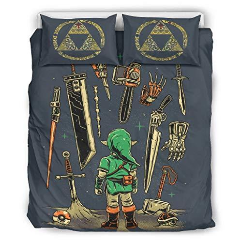 Bohohobo Zelda - Juego de ropa de cama de 3 piezas (poliéster), poliéster, White3, 168x229cm