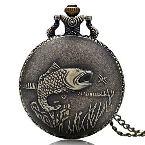 J-Love Reloj Bolsillo Retro, Reloj Bolsillo con diseño pez Bonito Bronce Vintage, Relojes Cuarzo Regalo para Hombre y Mujer con Collar