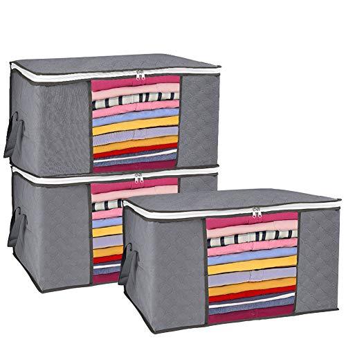 GEEDIAR Aufbewahrungstasche - 3 Stück 90L Faltbare Kleideraufbewahrung Groß - Unterbett Aufbewahrungstasche mit Langlebige Reißverschluss und Griffe für Bettdecken, Kissen, Kleidung, Decken, Grau