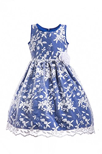 Emma Riley Girls Floral Dress Embroidered Tulle Classic Dress for Party,Formal Event Blue Size X-Small (5)