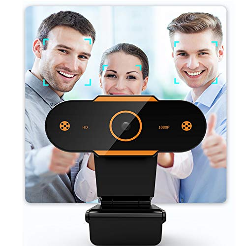 Full Hd 1080P Webcam, Camera with Built-In Microphone,Works with Obs, Skype, Youtube, Twitch,for Pc/Mac/Laptop/Desktop/Macbook,Orange