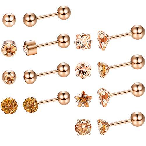 LOYALLOOK 8Pairs 18G 316L Surgical Steel Earrings Stud Barbell Ball Earrings CZ Tragus Cartilage Helix Earrings for Women Men Ear Studs Piercing Earrings Jewelry, 8Styles