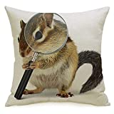 Decorative Linen Throw Pillow Cover Squirrel Funny Pet Chipmunk Searching Loupe On Animals Wildlife Sleuth Detective Research Agent Soft Square Cushion Case for Sofa Chair Bedroom 18 x 18 Inch