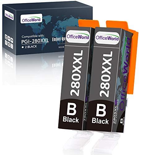 OfficeWorld Compatible Ink Cartridges Replacement for Canon PGI-280XXL PGI 280 XXL 281XXL, Work with Pixma TR7520 TR8520 TS6220 TS6320 TS8220 TS9520 Printer Black (2 PGBK)