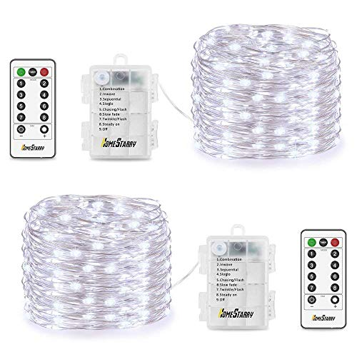 2 Sets Fairy Lights, Battery Operated Fairy Lights 16.4ft 50 LEDs with Remote Timer Twinkle String Lights 8 Modes LED Lights for Christmas Bedroom Indoor Garden Wedding Party Decor, Cool White